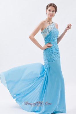 Mermaid One Shoulder 17 Prom Dress Baby Blue
