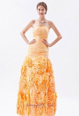 Rolling Flower Fabric Prom Dress Mermaid Orange