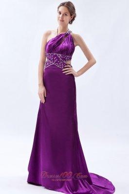 Brush Sheath One Shoulder Purple Celebrity Dress