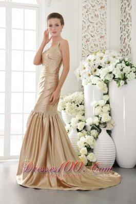 Mermaid Brush Prom Dress Champagne Seventeen