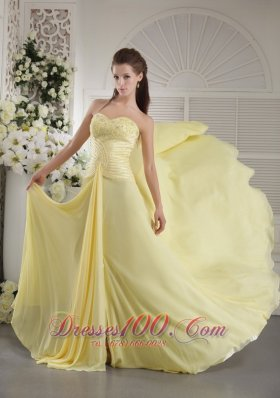 Light Yellow Brush Ruch Teenager Prom Dress
