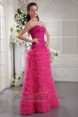 Customize Prom Pageant Dress Fuchsia Ruffles Ruch Teenager