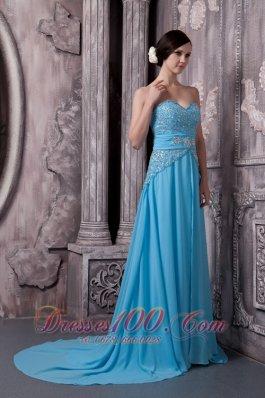 2013 Court Aqua Blue Prom Evening Dress Beading