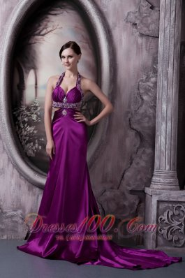 Sexy Court Halter Prom Celebrity Dress Eggplant Purple