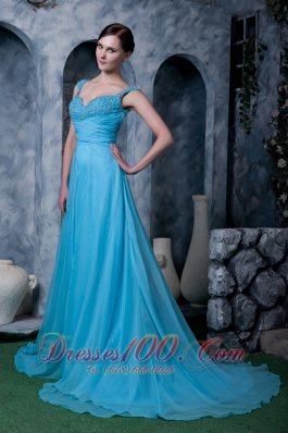 Sweep Train Aqua A-line Prom Dress Straps