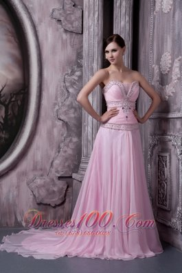 Sweep A-line Baby Pink 2013 Prom Pageant Dress