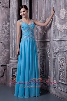 Aqua Blue Evening Dress Straps Empire Beading