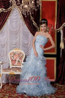 Mermaid Belt Baby Blue Prom / Evening Dress