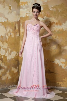 Brush Train Light Pink Prom Celebrity Dress Beading