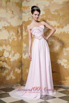 Brush Train Light Pink Beading Prom Dress