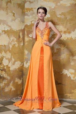 V-neck Brush Beading Prom Evening Dress Orange
