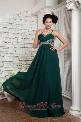 Spaghetti Straps Dark Green Mother's Dress