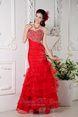 Mermaid Red Ankle-length Ruch Prom Dress