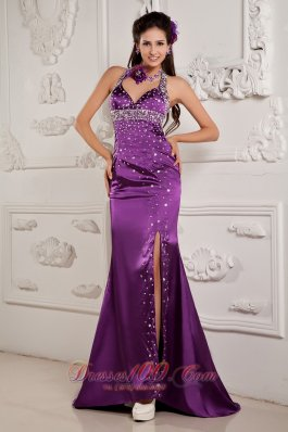High Split Mermaid Halter Brush Prom Evening Dress