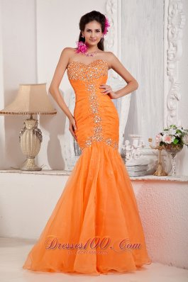 Beading Orange Mermaid Prom Dress Under 150