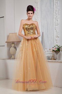 Gold Sequins Floor-length Prom Dress