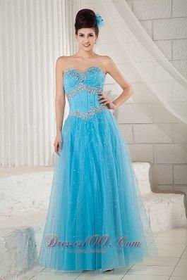 2013 Aqua Blue Prom Pageant Dress A-line Beading