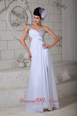 One Shoulder White Beading Brush Prom Evening Gown