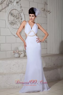 V-neck White Brush Criss Cross Prom Evening Gown