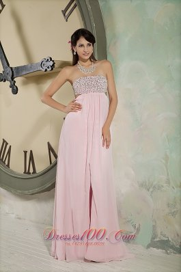 Backless Baby Pink Prom Dress Beading