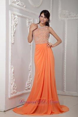 One Shoulder Brush Orange Dress for Prom