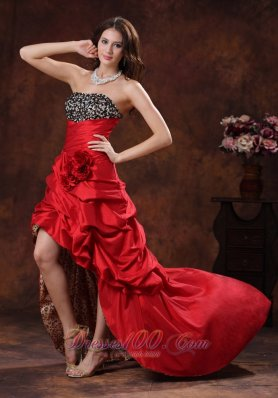 Red Leopard High-low Prom Pageant Dress A-line