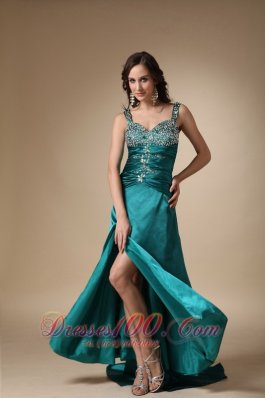 Straps Brush Slit Turquoise Dress for Prom Celebrity