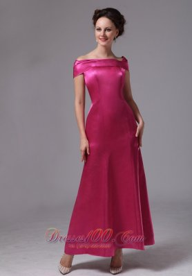 Hot Pink Off The Shoulder Mother Of Bride Dress
