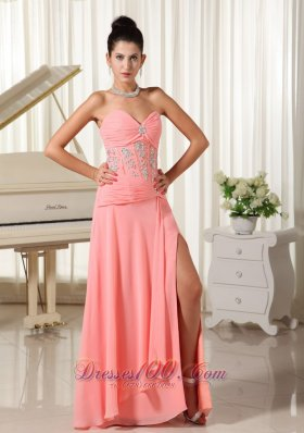 High Slit Watermelon Evening Dress Beading