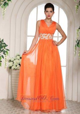 2013 Orange Red V-neck Prom Celebrity Dress