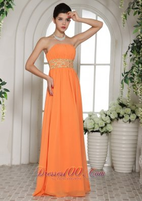 2013 Orange Red Beading Teenager Prom Dress