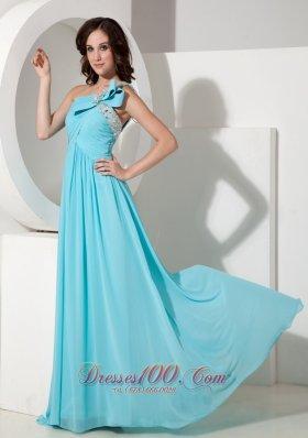 One Shoulder Aqua 2013 Evening Dress
