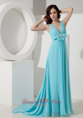 Watteau Blue V-neck Bow 17 Prom Celebrity Dress