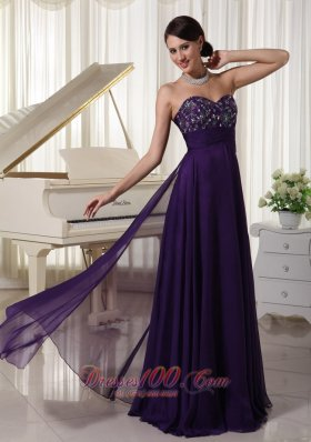 Beading Purple Prom Evening Dress Appliques