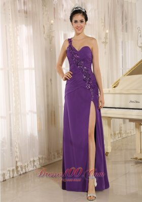 One Shoulder High Slit Purple Prom Dress