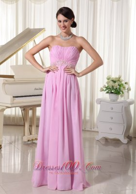 Appliques Baby Pink Prom Dress Under 150
