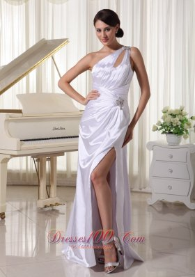 One Shoulder High Slit White Prom Celebrity Dress