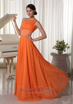 One Shoulder Brush Beaded Prom Dress Orange