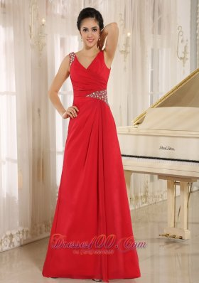 V-neck Red Brush Beaded Evening Dress for Prom
