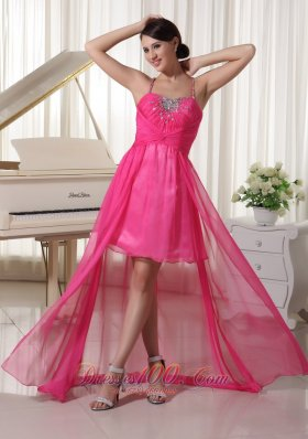 High-low Spaghetti Prom Homecoming Dress Hot Pink