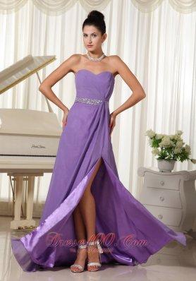 High Slit Lavender Ruch Dress for Prom