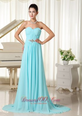 2013 Brush Prom Dress Aqua Blue Ruch