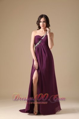 One Shoulder Prom Dress Slit Brush Purple