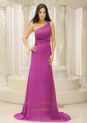 One Shoulder Beaded Brush Fuchsia Prom Dress