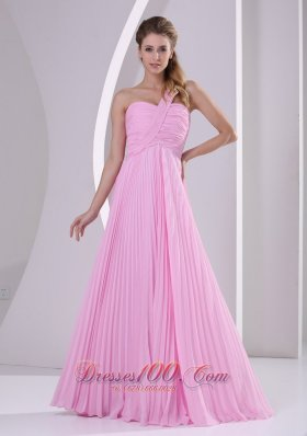 Pink One Shoulder Pleat Brush Bridesmaid Dress