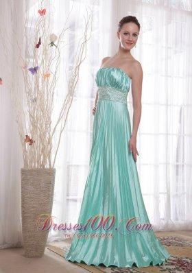 2013 Pleat Apple Green Beading Prom Dress