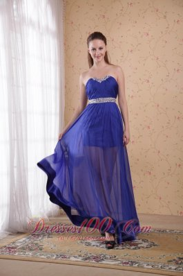 Royal Blue Prom Celebrity Dress Beading Ruch