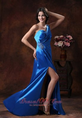 High Slit One Shoulder Prom Dress Sky Blue