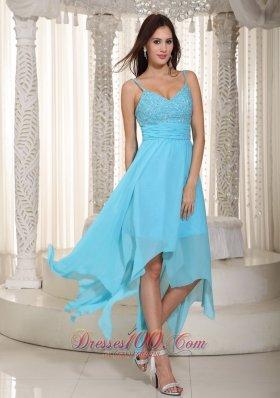 Asymmetrical Baby Blue Straps Prom Dress Pleats
