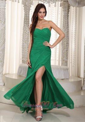 Dress for Prom Dark Green Sweetheart High Slit